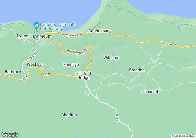 Map for Brendon, Lynton, North Devon, EX35