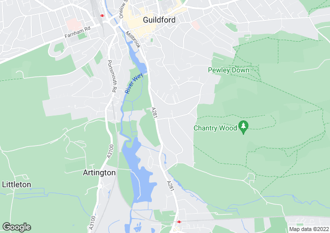 Map for Pilgrims Way, Guildford, Surrey, GU4