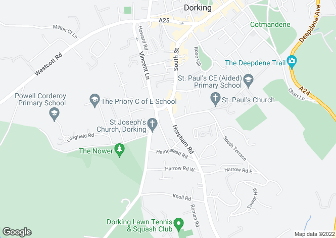 Map for Horsham Road, DORKING