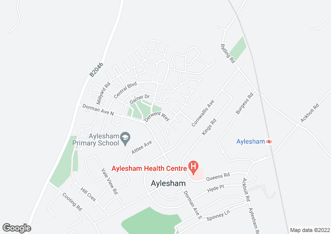 Map for Derwent Way, Aylesham, Canterbury CT3