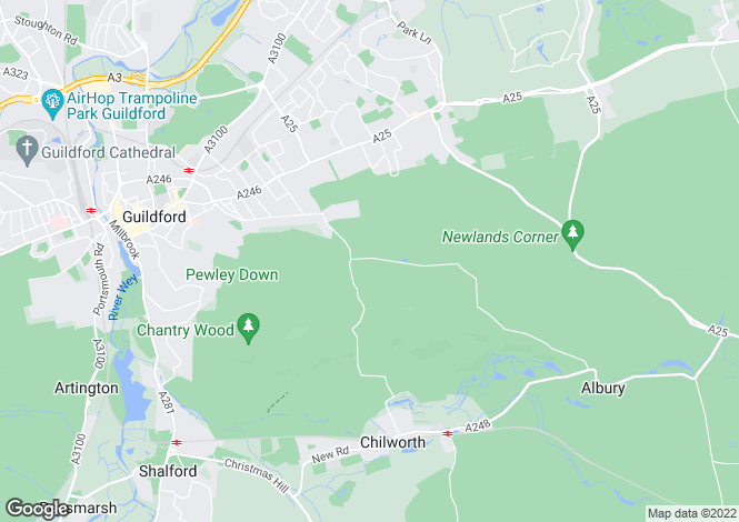 Map for Albury Heights, Guildford, Surrey  GU4 8PR