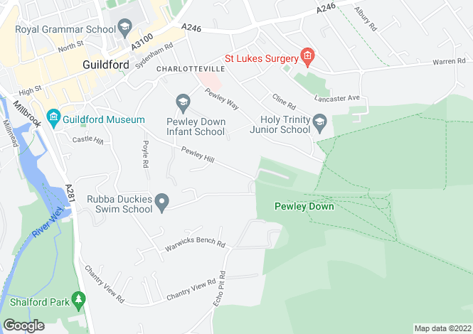 Map for Pewley Hill, Guildford