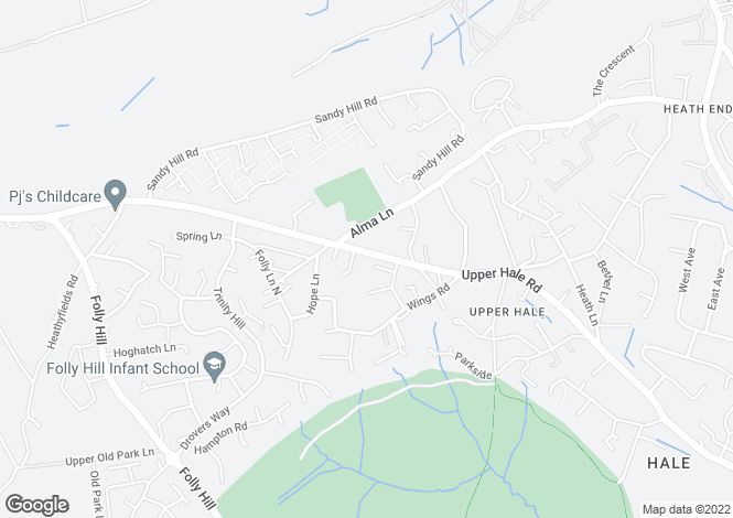 Map for Upper Hale Road FARNHAM GU9