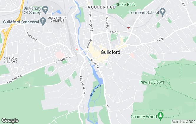 Map for Martin & Co, Guildford - Lettings
