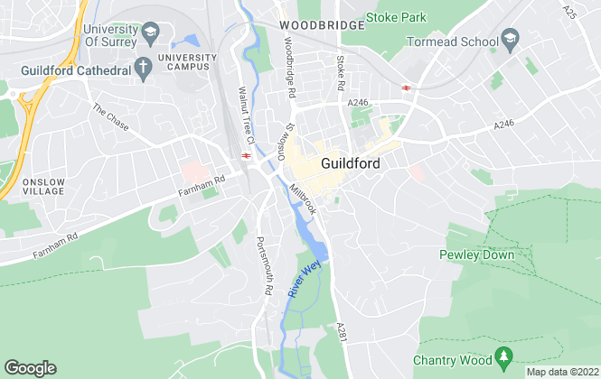 Map for Chantries Estate Agents, Guildford