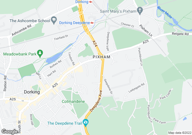 Map for Hillview, DORKING
