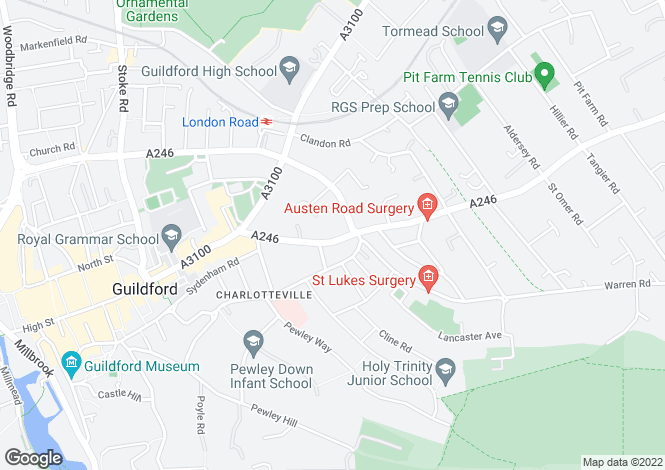 Map for Epsom Road, Guildford, Surrey, GU1