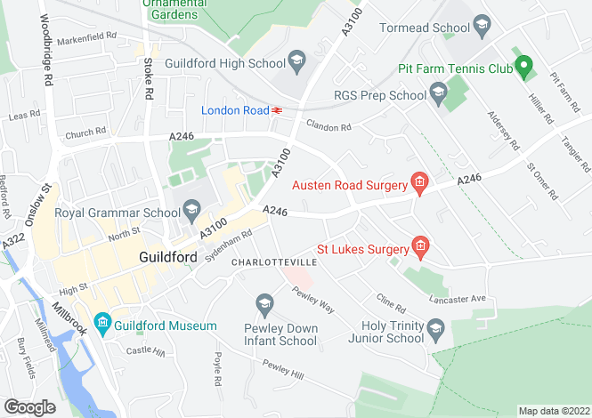 Map for Epsom Road, Guildford