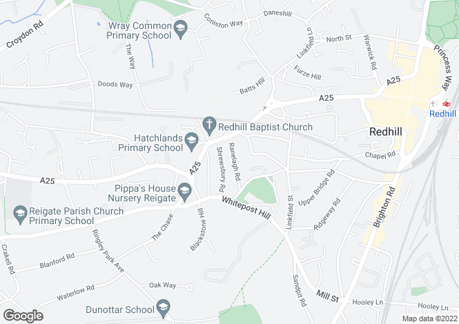 Map for Ranelagh Road, Redhill