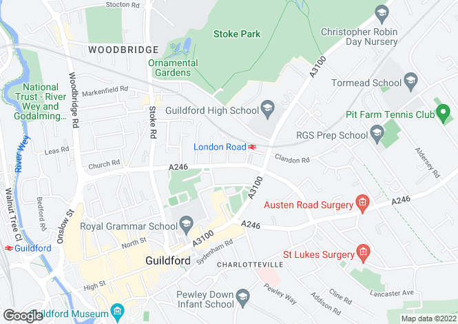 Map for York Road, Guildford, Surrey, GU1