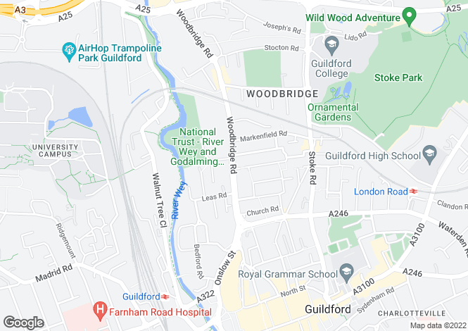 Map for Woodbridge Road, Guildford