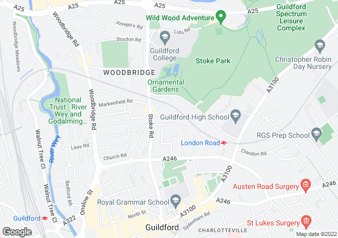 Map for Queens Road, Guildford, Surrey, GU1