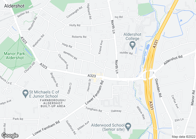 Map for Newport Road, Aldershot, GU12