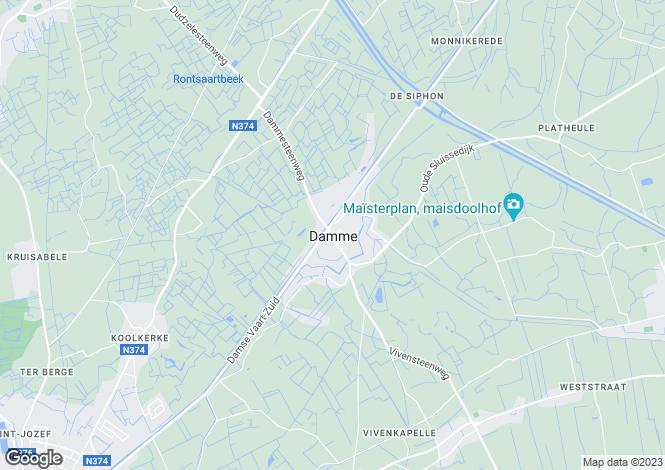 Map for Damme, Bruges, West Flanders