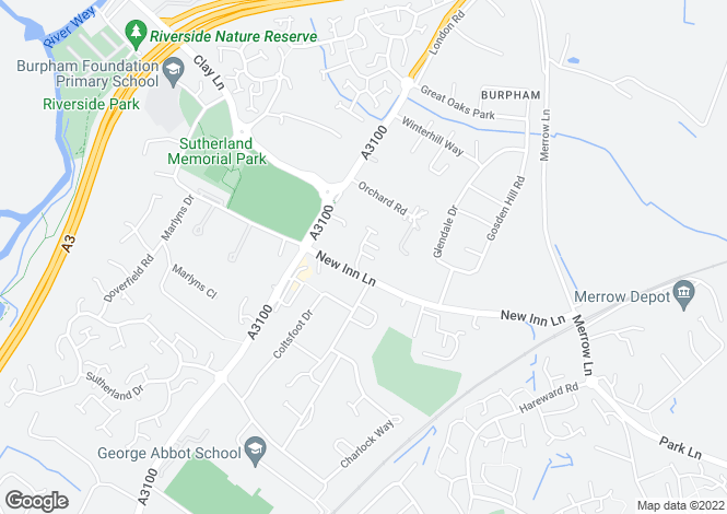 Map for Raynham Close, Burpham, Guildford