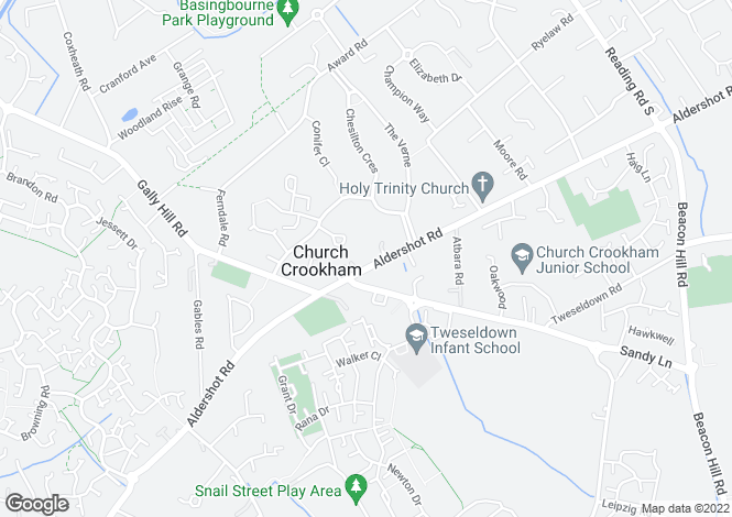 Map for Yew Barton Court, Aldershot Road, Church Crookham, Hampshire, GU52