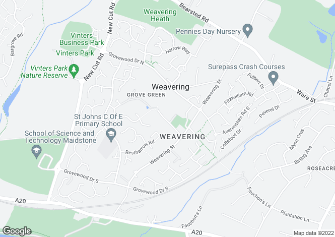 Map for Weavering, Maidstone, Kent