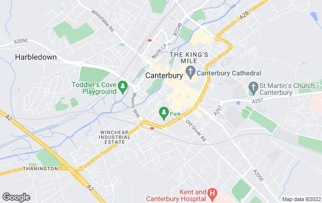 Map for Sandersons Students , Canterbury Student Lettings