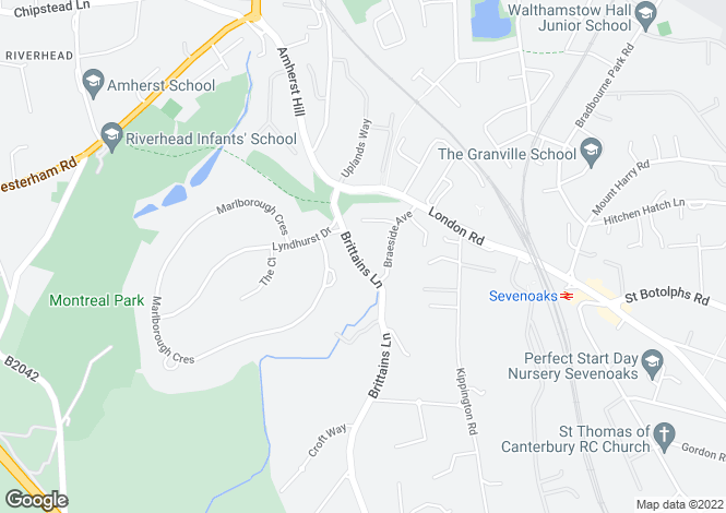 Map for Brittains Lane, Sevenoaks, Kent, TN13
