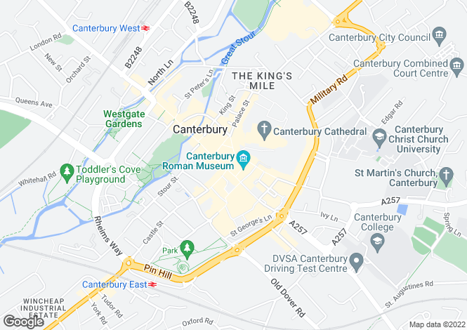 Map for Canterbury, Kent