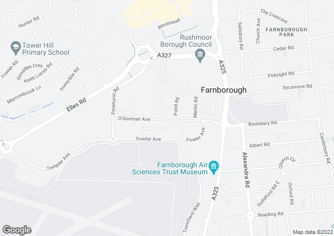 Map for O'Gorman Avenue, Farnborough, GU14