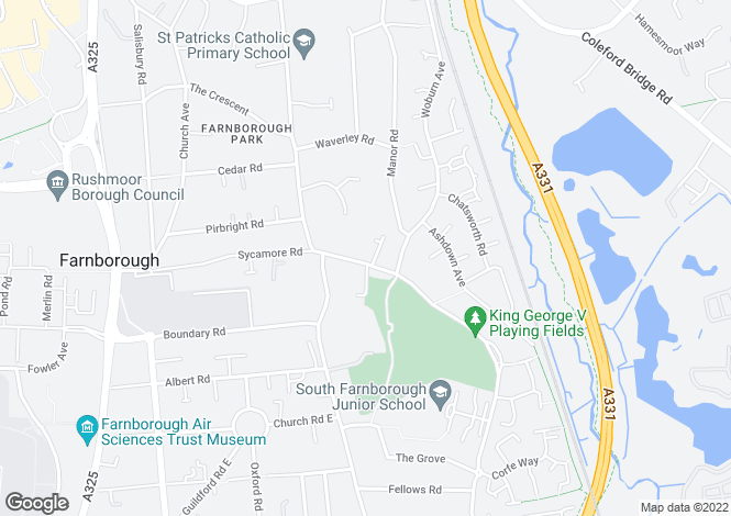 Map for Sycamore Road, Farnborough, Hampshire, GU14