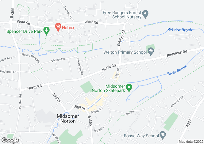 Map for North Road, MIDSOMER NORTON