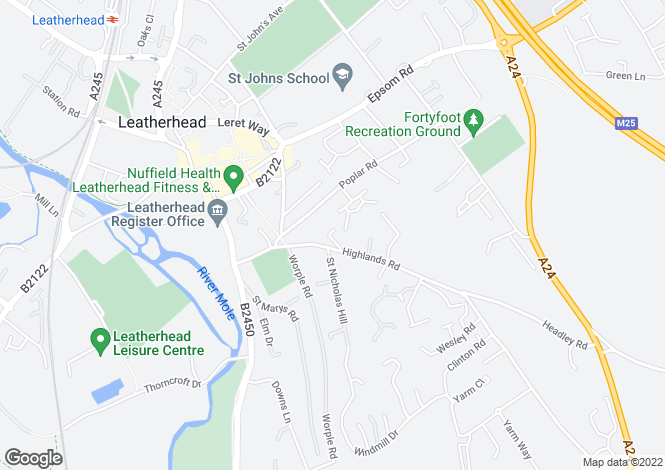 Map for Highlands Close, LEATHERHEAD