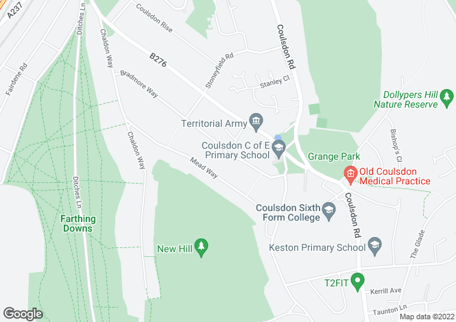 Map for Bradmore Way, Coulsdon