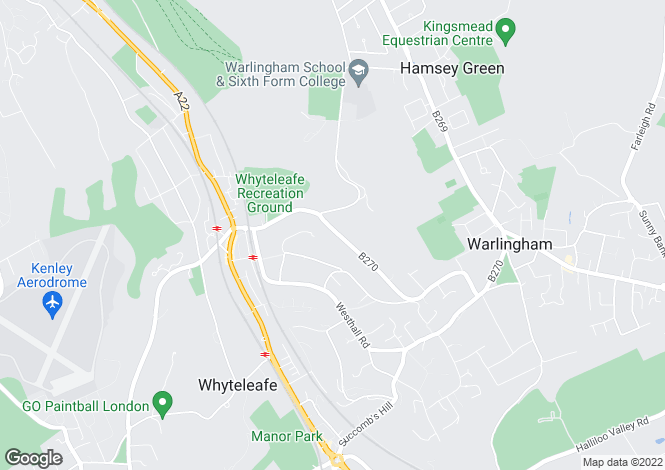Map for Hillbury Road, Warlingham, Surrey