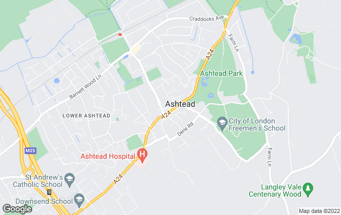 Map for Jackie Quinn Estate Agents, Ashtead Village