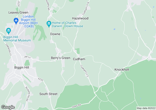 Map for Cudham Hall, Cudham, Sevenoaks, Kent TN14 7QB