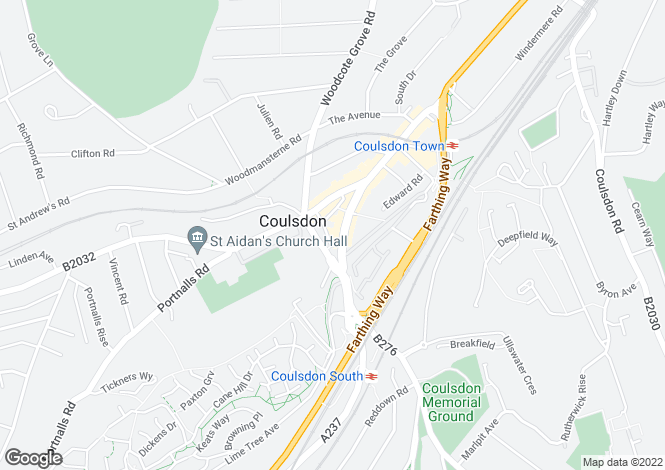 Map for Brighton Road, Coulsdon