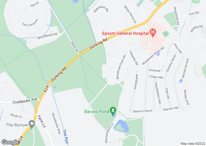 Map for Woodcote Side, Epsom, Surrey, KT18