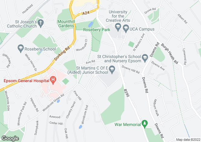 Map for Avenue Road, Epsom, Surrey, KT18