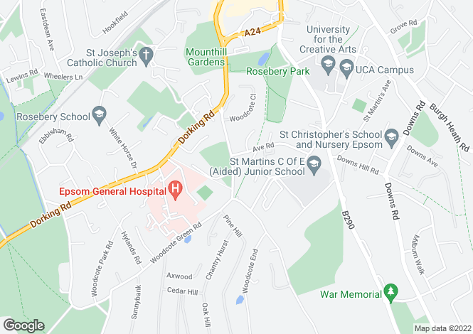 Map for Woodcote Road, Epsom, KT18