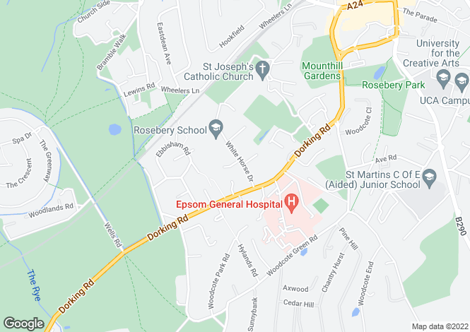 Map for Whitehorse Drive, Epsom, Surrey, KT18