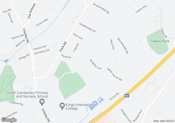 Map for Kingsley Avenue, Camberley, Surrey, GU15