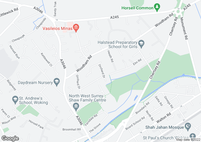 Map for Orchard Drive, Horsell