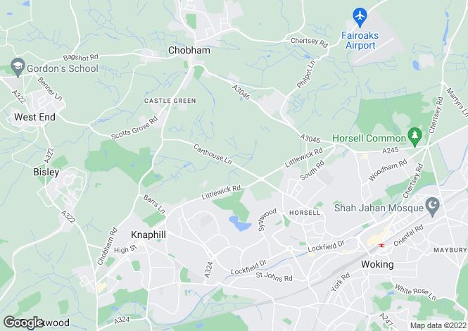 Map for Brook House, Horsell, Woking, Surrey GU21 4XS