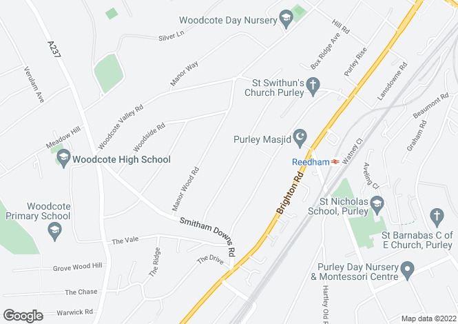Map for Woodcrest Road, PURLEY