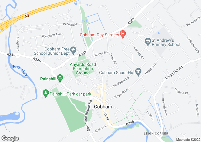 Map for Leigh Road, Cobham, Surrey, KT11