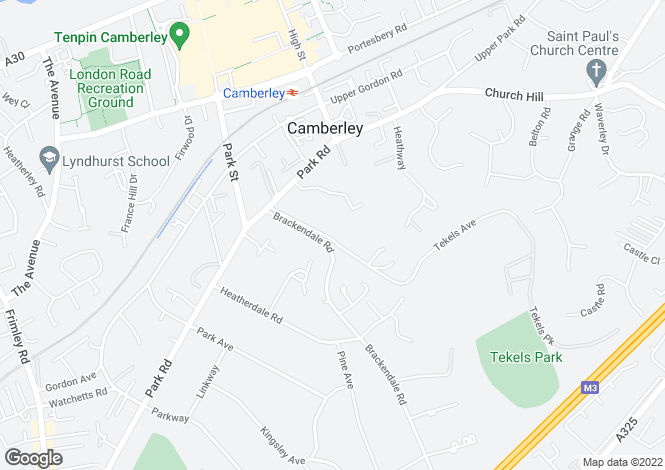 Map for Tekels Avenue, Camberley GU15 2LA