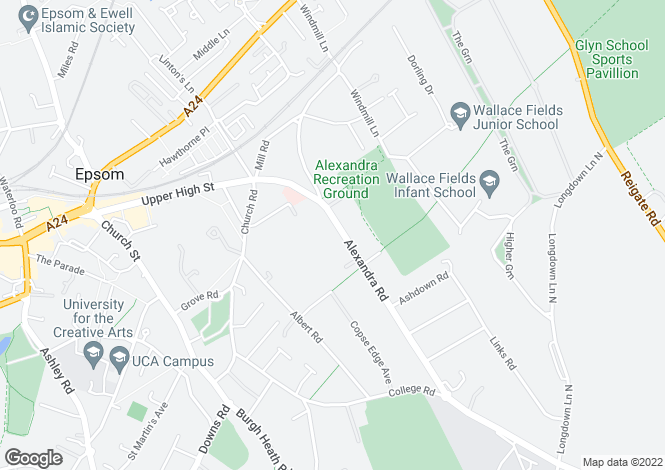 Map for Alexandra Road, Epsom