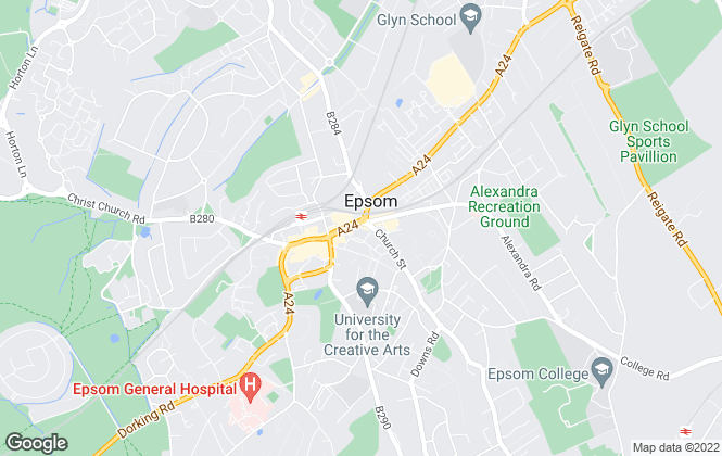 Map for Gascoigne-Pees Lettings, Epsom