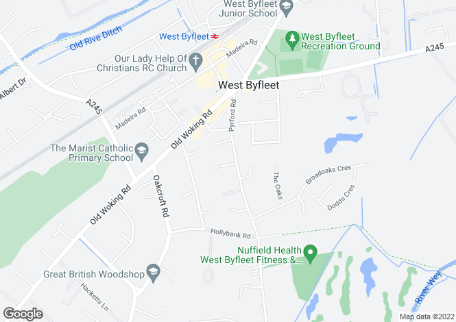 Map for Pyrford Road, West Byfleet, Surrey