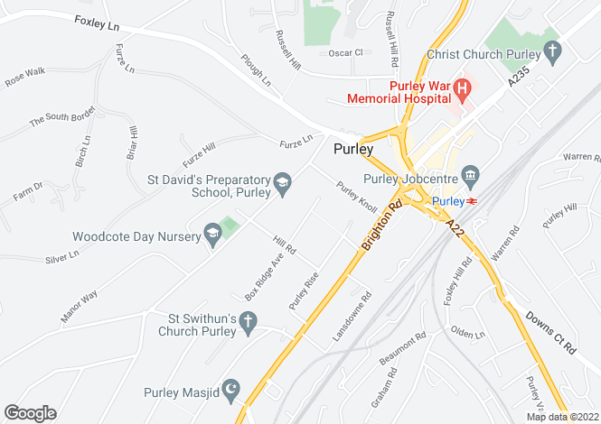 Map for Box Ridge Avenue, Purley, Surrey, CR8