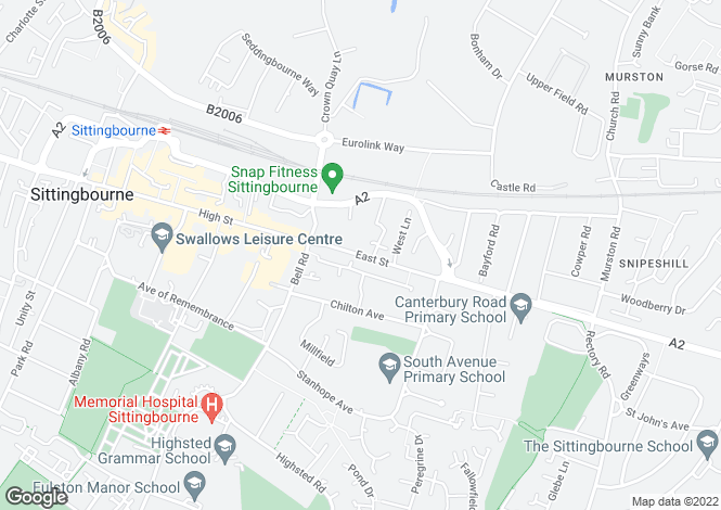 Map for EAST STREET, Sittingbourne, Kent, ME10 4BQ