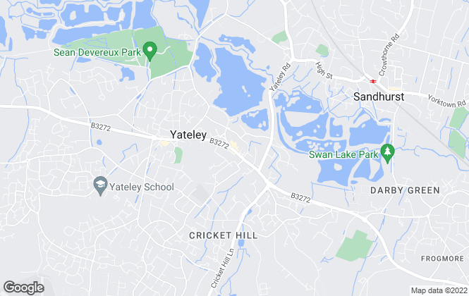 Map for Henlys Estate Agents, Yateley