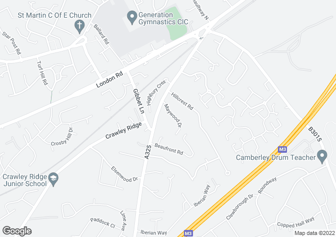 Map for Maywood Drive, Camberley, Surrey, GU15